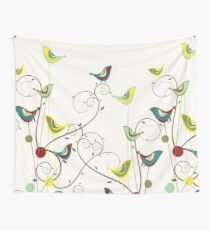 Colorful Whimsical Summer Red, Teal and Yellow Birds with Swirls Wall Tapestry