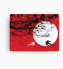 Oriental Swallows In Moonlight  Canvas Print