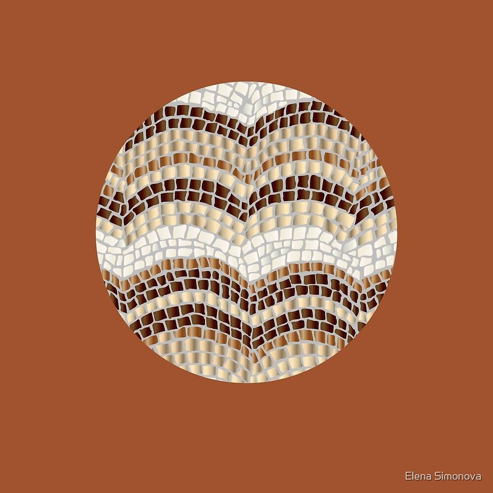 Round Beige Mosaic on Sienna by Elena Simonova