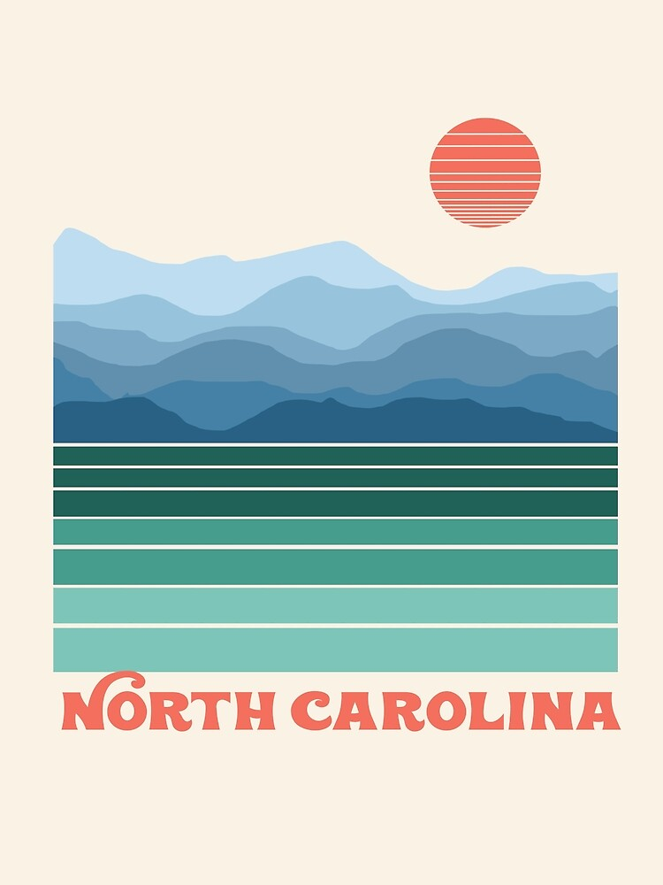 North Carolina - retro throwback travel poster applachian trail mountain hike by 78designs