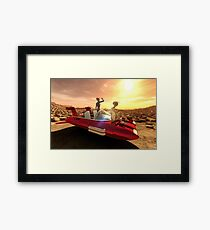 Retro Sci-Fi Sunset on Mars Framed Print