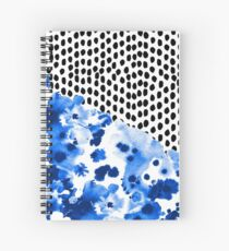 Monroe - painted abstract watercolor ink polka dots dotted indigo blue minimalism nursery Spiral Notebook