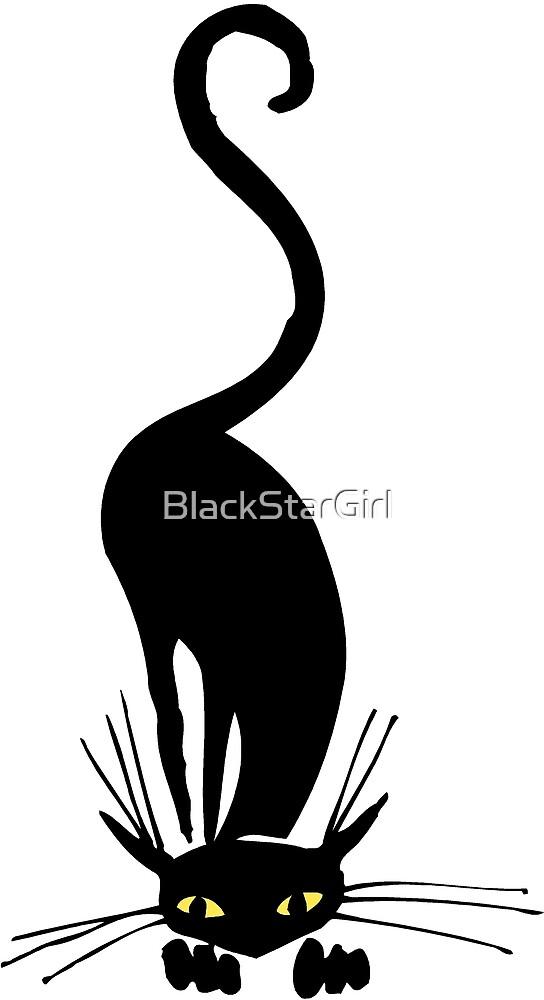 Graceful Black Cat Sniffing  by BlackStarGirl