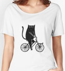 Cat On A Bike (Black) Women's Relaxed Fit T-Shirt