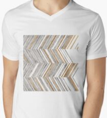 COPPER AND GREY WOOD V-Neck T-Shirt