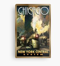 Chicago, New York central, railway, steam train, vintage travel poster Metal Print