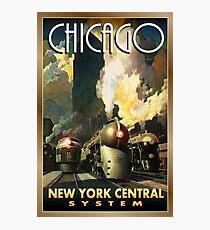 Chicago, New York central, railway, steam train, vintage travel poster Photographic Print