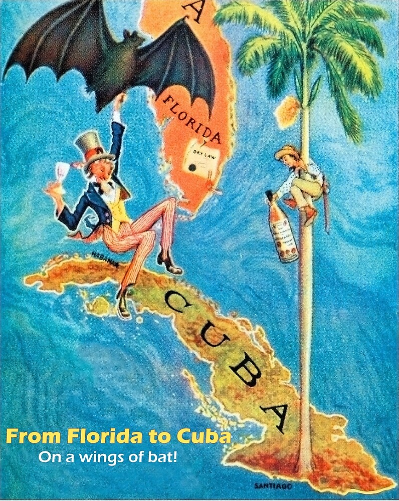 From Florida to Cuba, funny vintage travel poster by AmorOmniaVincit