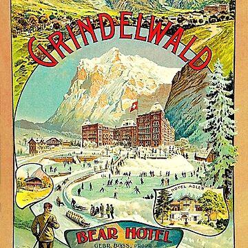 Grindelwald, Switzerland, vintage travel poster by AmorOmniaVincit
