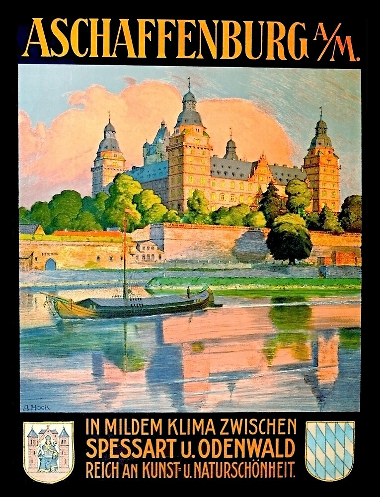 Aschaffenburg, Rhine, Germany, castle, vintage travel poster by AmorOmniaVincit