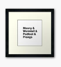 Moony, Wormtail, Padfoot, & Prongs Framed Print
