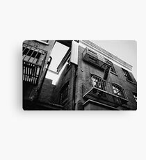 Apartment Film Set Exterior 35mm Black and White Canvas Print