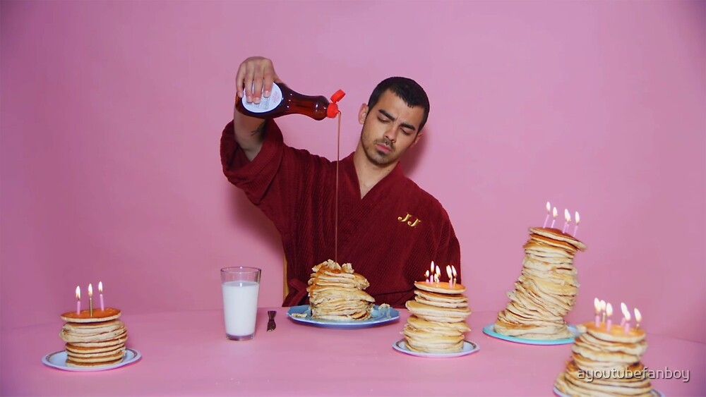 Joe Jonas pouring syrup over some pancakes by ayoutubefanboy