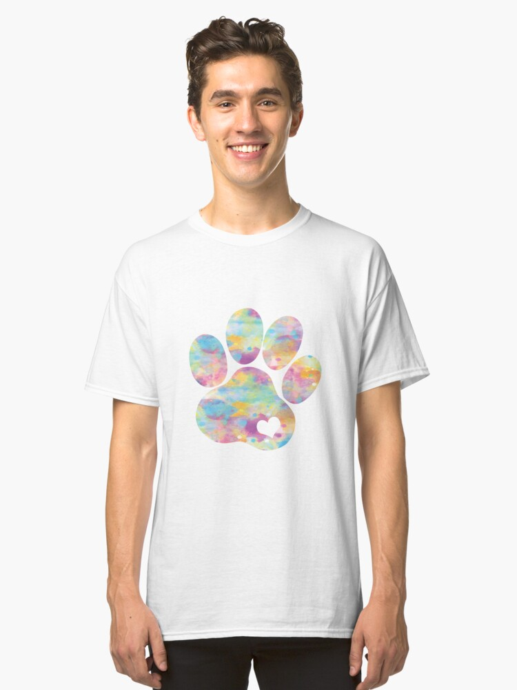 Dog paw print with heart Classic T-Shirt Front