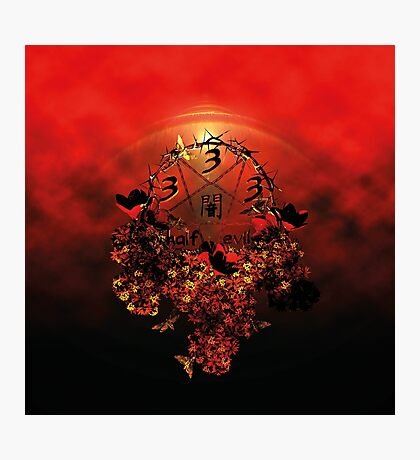 summoning circle pentagram - 333 half evil Photographic Print