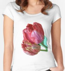 Two Red Tulips Vector  Women's Fitted Scoop T-Shirt