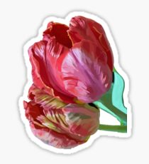 Two Red Tulips Vector  Sticker