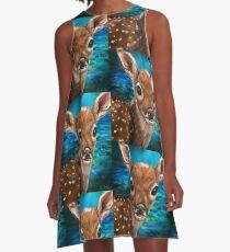 Nette Weiß angebundene Rotwild - Digital-Malerei A-Linien Kleid
