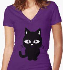 Spiritual Black Cat Women's Fitted V-Neck T-Shirt