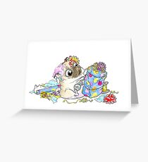 Wrapping Presents birthday pug Greeting Card
