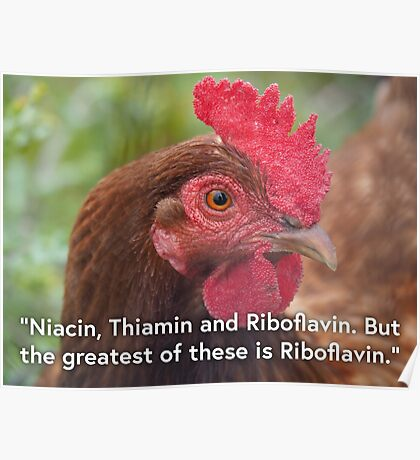 NDVH Niacin, Thiamin and Riboflavin. But the greatest of these is Riboflavin. Poster