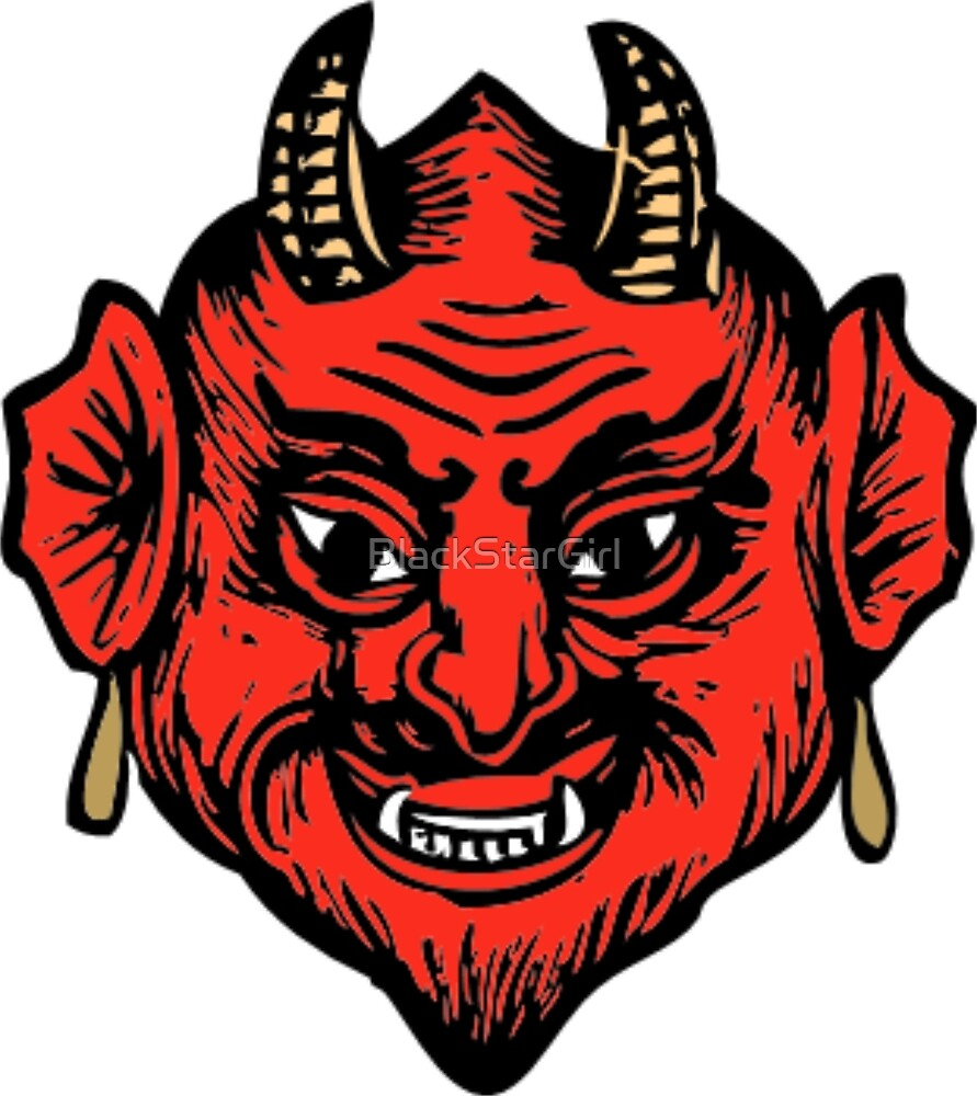 Horned Red Satan Devil Face by BlackStarGirl