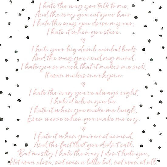 10 Things I Hate About You Poem Posters By Caro Owens Designs