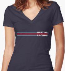 Martini Racing horizontal stripe Women's Fitted V-Neck T-Shirt
