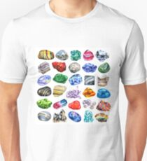 Watercolor minerals and gems collection isolated on white background T-Shirt