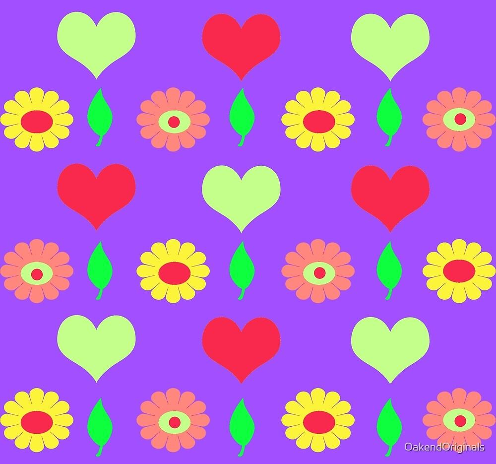 Daisy heart allover print purple by OakendOriginals