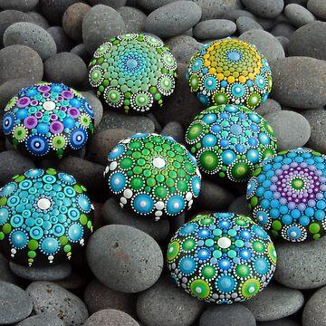 Blues -greens Mandala painted stones by mandalaole