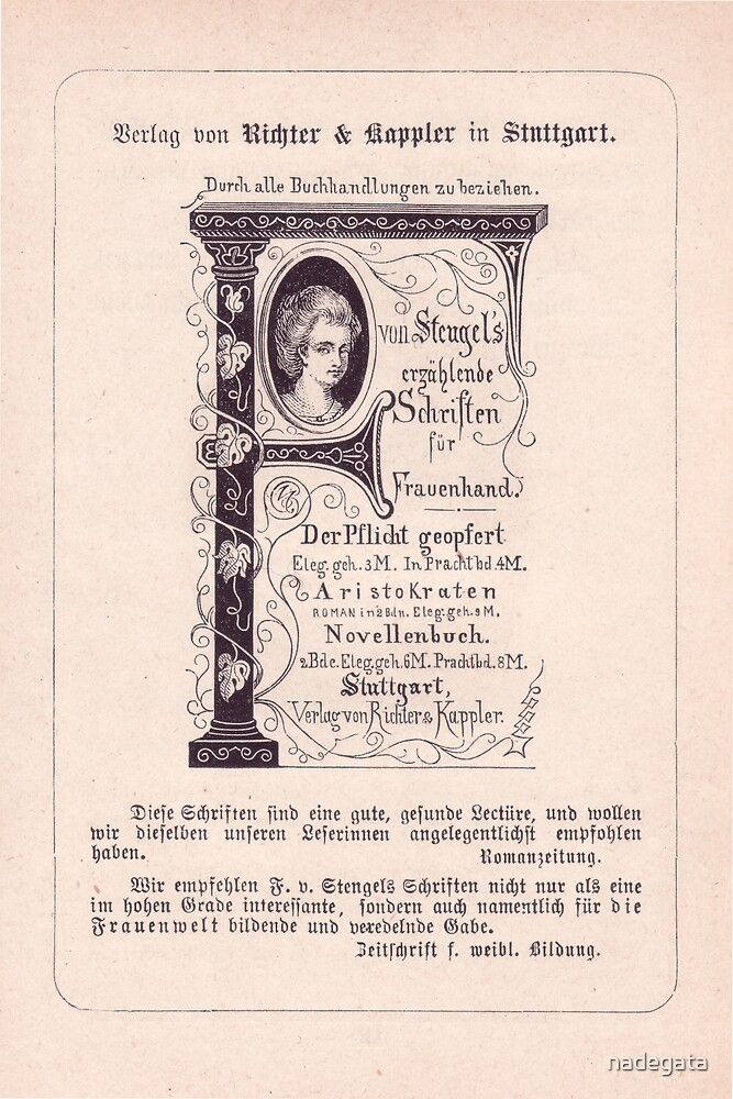 German Vintage Advert for Women's Literature (1876) by nadegata