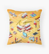 Export Trade Logistics Infographic Icons Throw Pillow