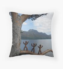 Clay people climbing trees Throw Pillow