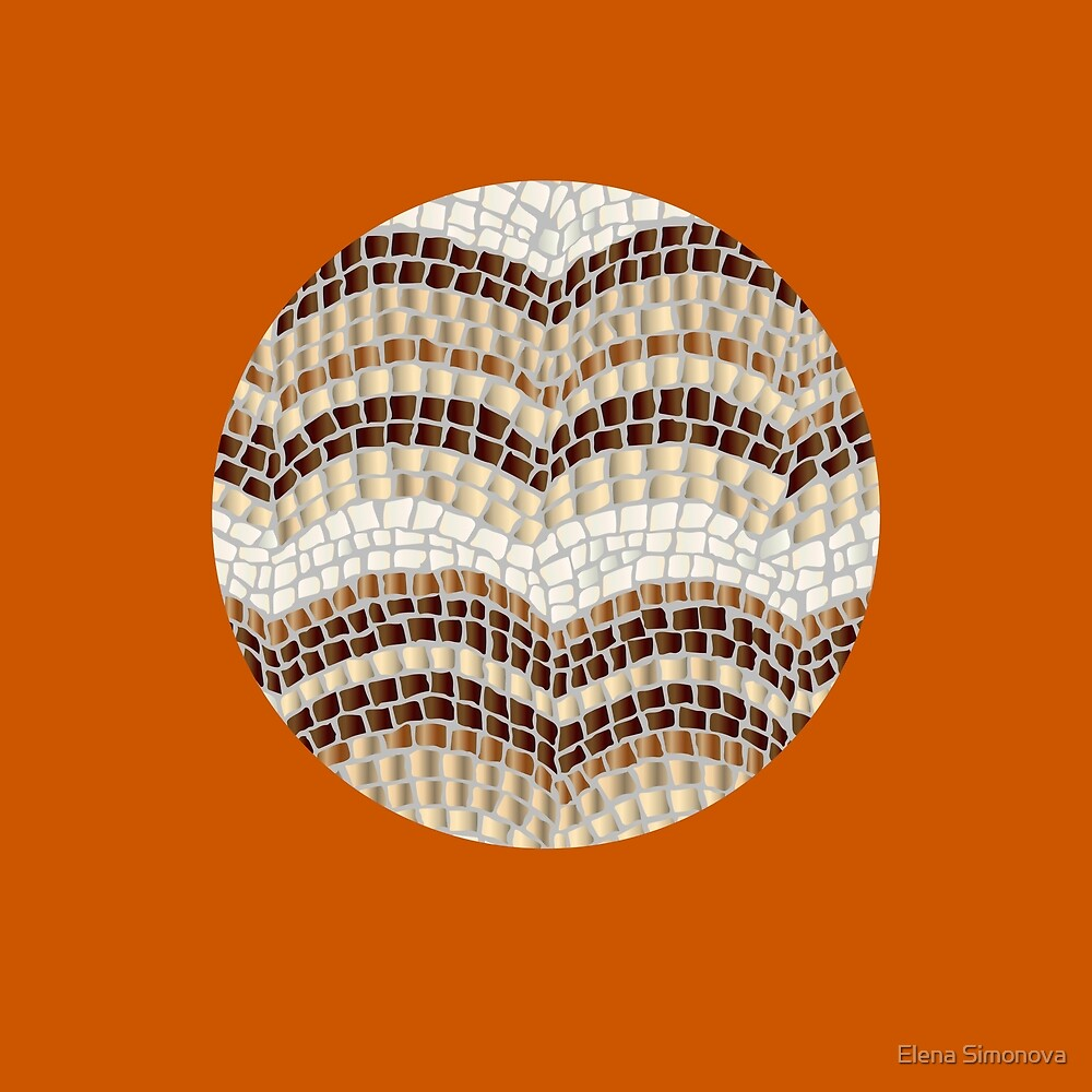 Round Beige Mosaic on Burnt Orange by Elena Simonova