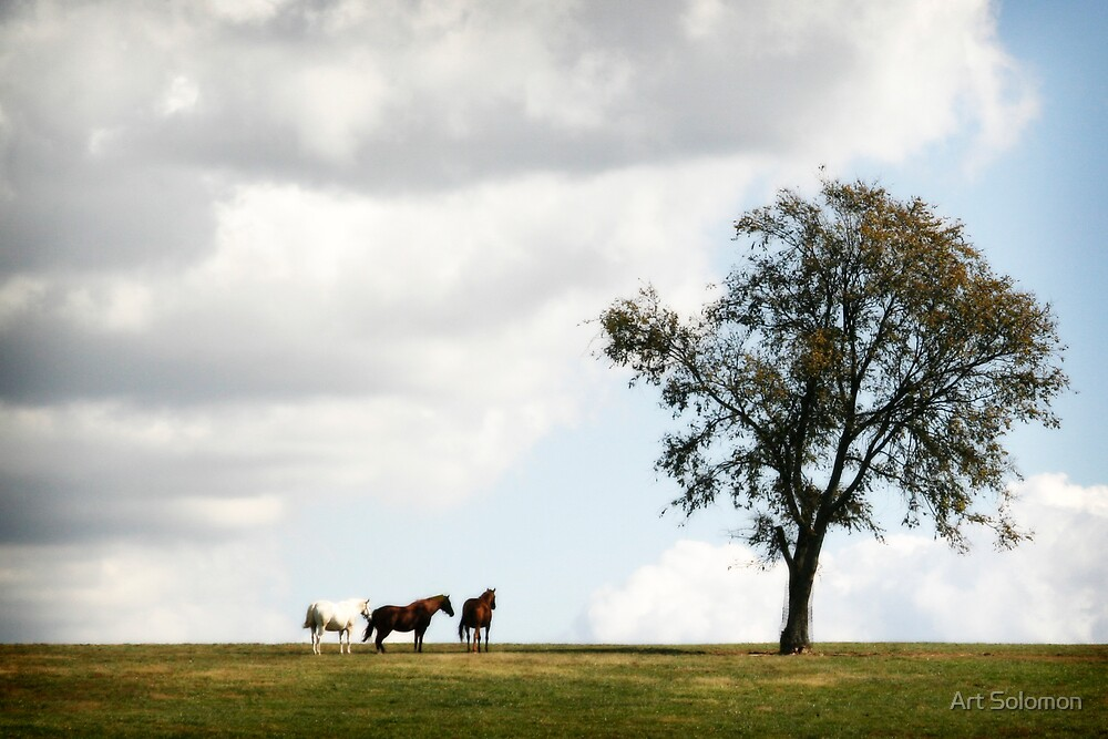 Horses by a Tree by Art Solomon
