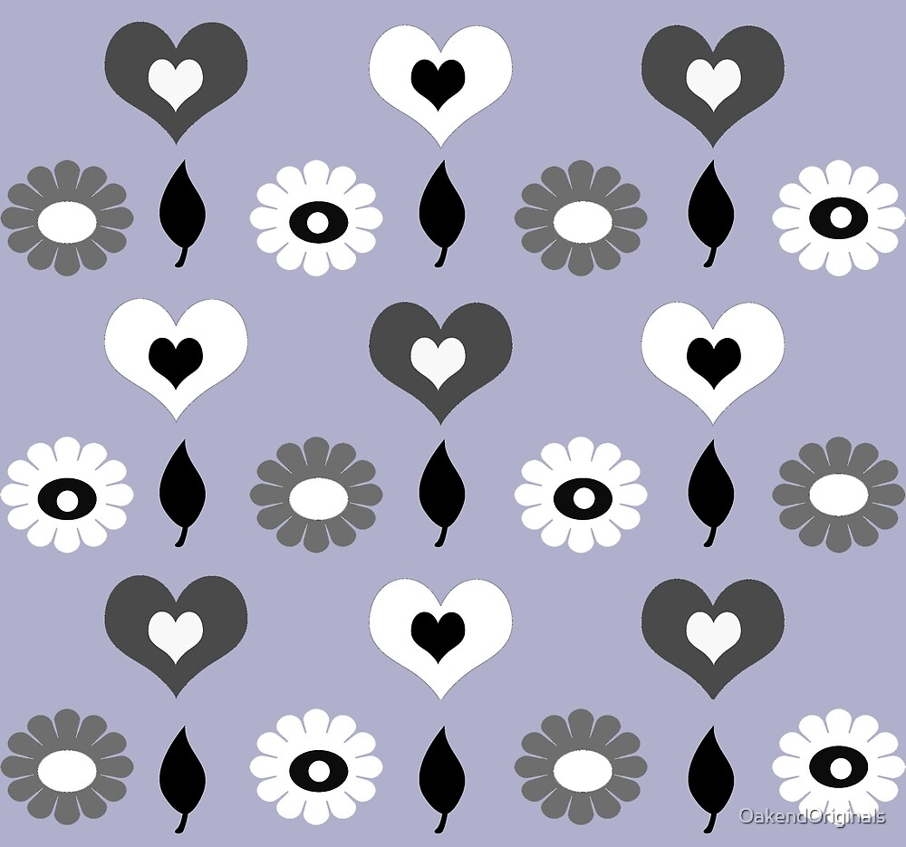 Daisy and heart all over print monochrome by OakendOriginals