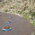 Kayakers, Train, Arkansas River, Colorado by lenspiro