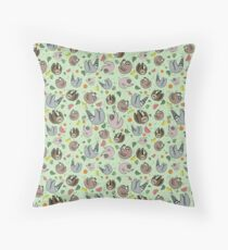 Sloths in Green Throw Pillow
