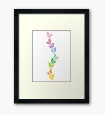 Balancing Retro Rainbow Chicks Framed Print