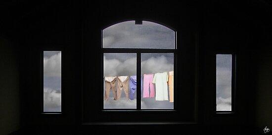 I See the Way, Washline through a South Facing Window by Wayne King