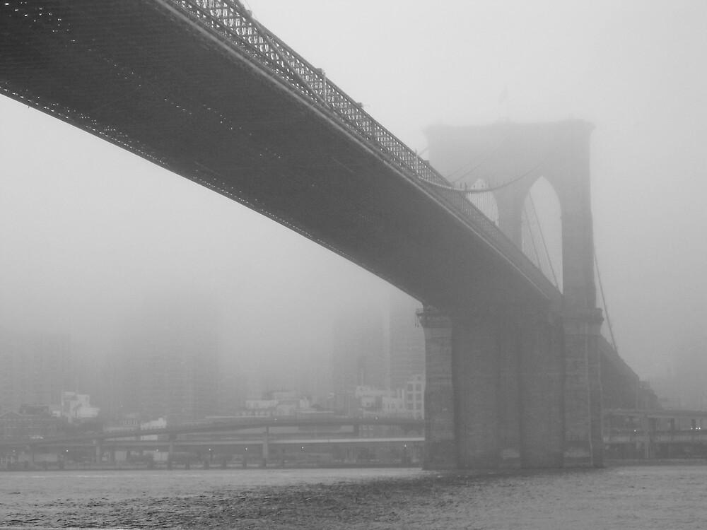 Brooklyn Bridge in the Midst of Fog by Ron Hash