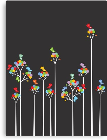 Colorful Whimsical Tweet Birds On White Branches by fatfatin