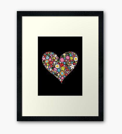 Whimsical Spring Flowers Red Valentine Heart Framed Print