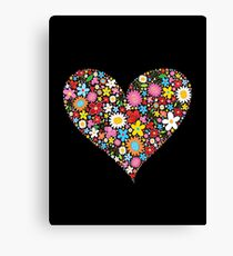 Whimsical Spring Flowers Red Valentine Heart Canvas Print