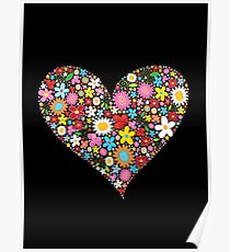 Whimsical Spring Flowers Red Valentine Heart Poster