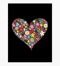 Whimsical Spring Flowers Red Valentine Heart Photographic Print