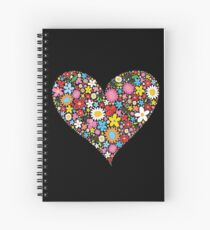 Whimsical Spring Flowers Red Valentine Heart Spiral Notebook