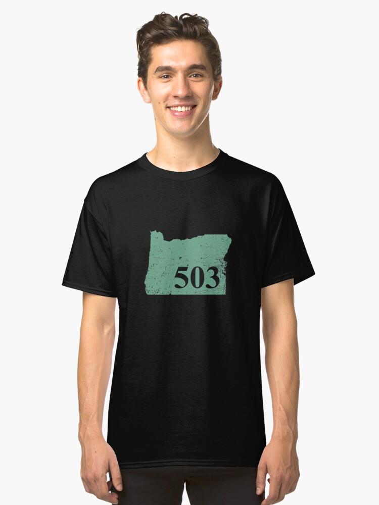Oregon the 503 Area Code T-Shirt PNW Fun Classic T-Shirt Front
