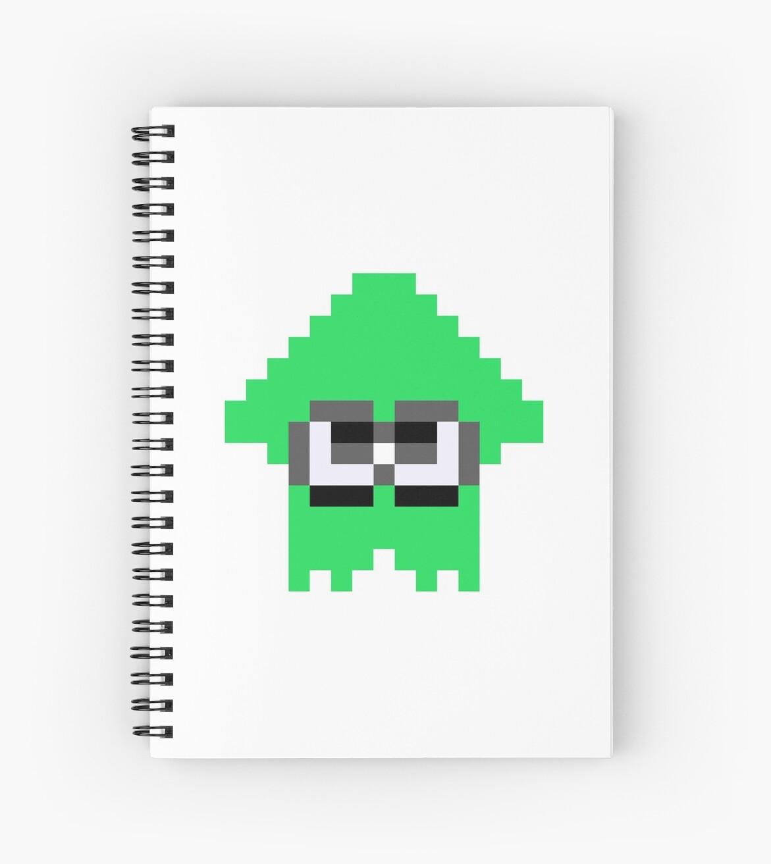 Splatoon Squid Pixel Art Green Spiral Notebook By Jjickrsa